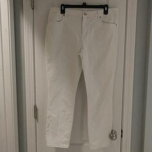 LOFT modern skinny crop 14 32 white jeans